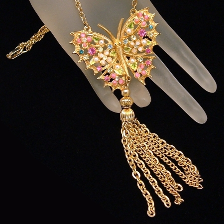 Signed ART Vintage Rhinestones Tassels Butterfly Necklace from myclassicjewelry.com