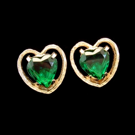 Fabulous Signed ART Vintage Earrings Large Green Glass Hearts from myclassicjewelry.com