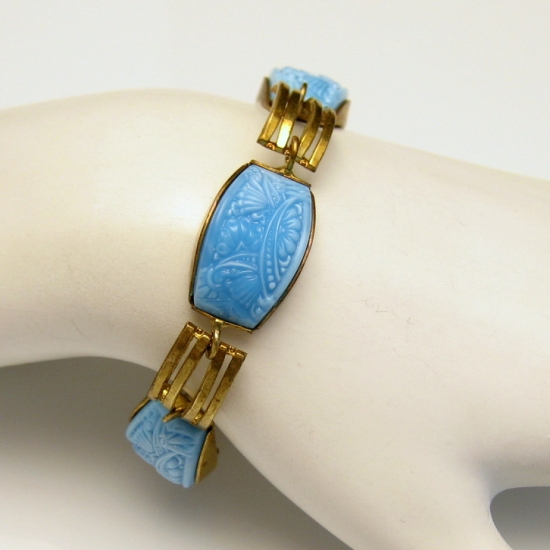 Art Deco Carved Glass Bracelet