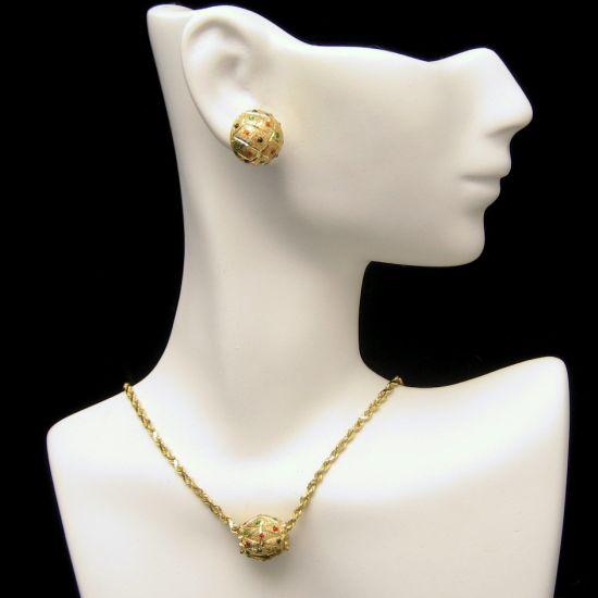 Vintage 14K Gold Necklace Earrings Set Slide Pendant Tiny Stones Red Blue Green
