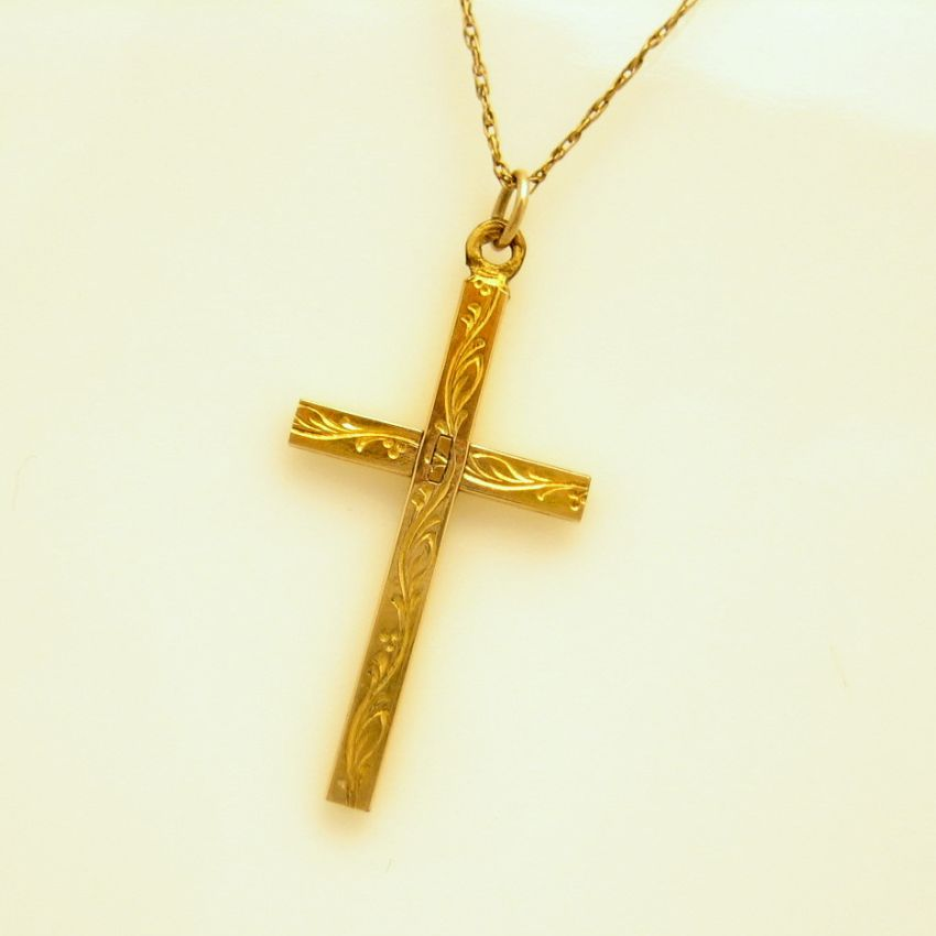 Vintage 12kt gold filled etched cross pendant necklace for Gold filled jewelry