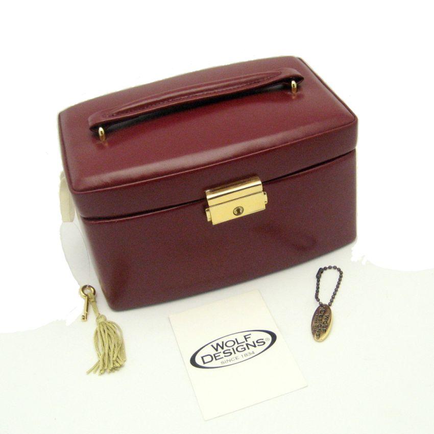 wolf designs genuine leather travel jewelry box burgundy