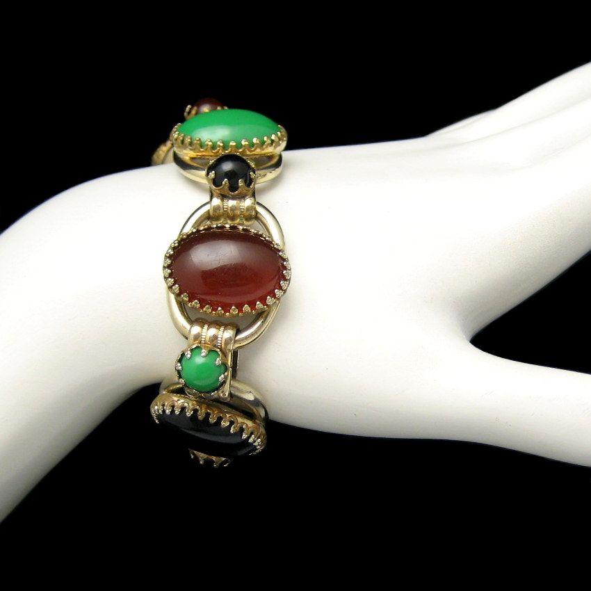 Vintage Chunky Bracelet 5 Open Links Red Green Black Acrylic Stones D&E Juliana