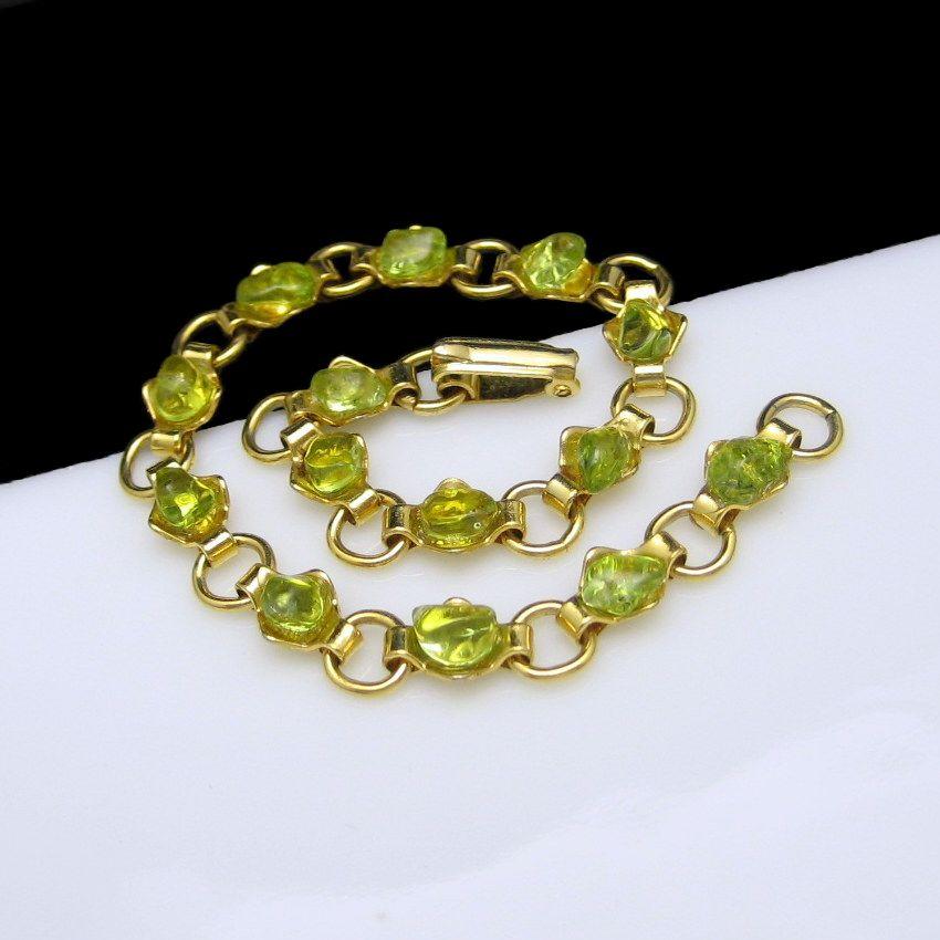 Vintage Green Glass Stones Rhinestone Statement Bracelet Open Goldtone Links