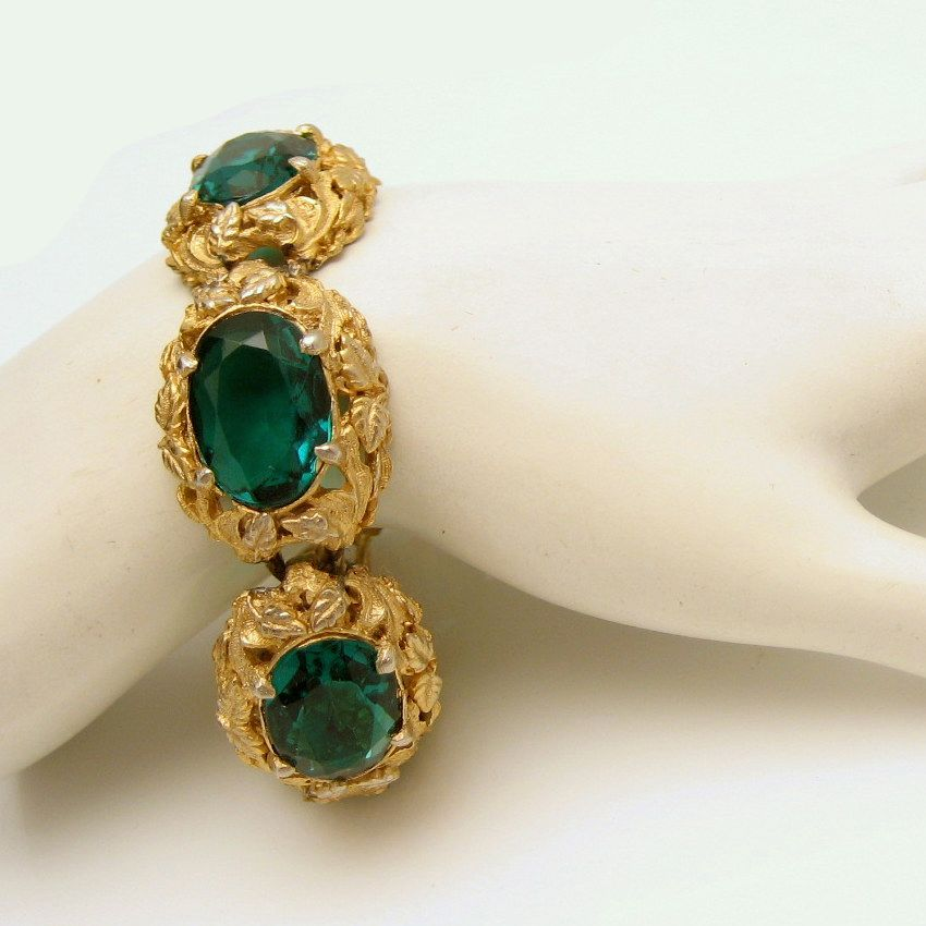 Vintage Wide Chunky Bracelet Large Green Glass Stones Nouveau Style Gold Plated