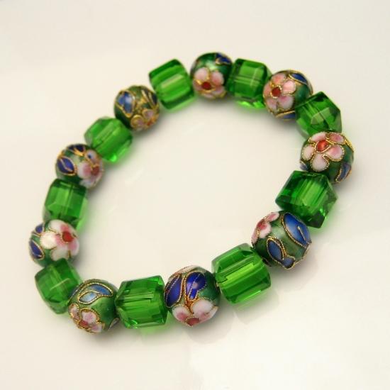 Vintage Chunky Bracelet Large Green Glass Cloisonne Beads Blue Pink Red