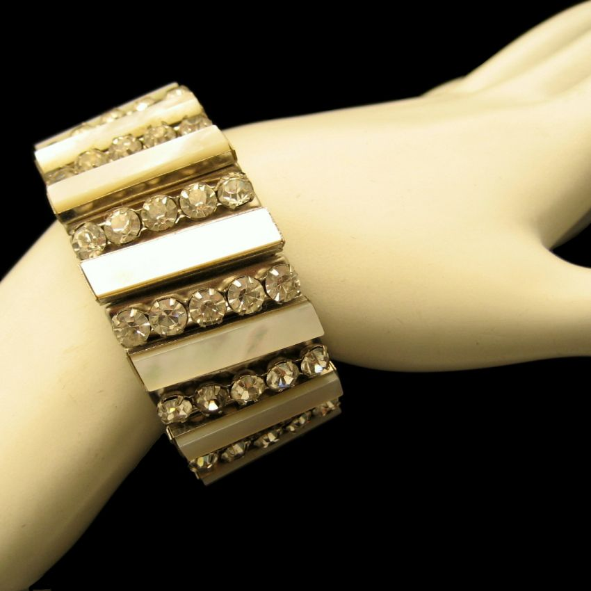 Vintage Wide Expansion Bracelet Mother of Pearl Rhinestones Silver Plated