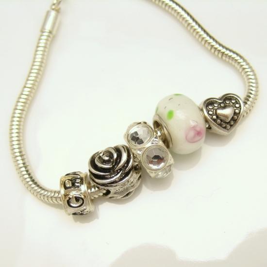 Slide Charms For Bracelets: Vintage Slide Charms Bracelet Heart Rose Love Grandma