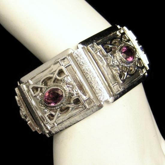 Whiting Davis Silver Plated Engraved Wide Bracelet Purple Rhinestones Vintage