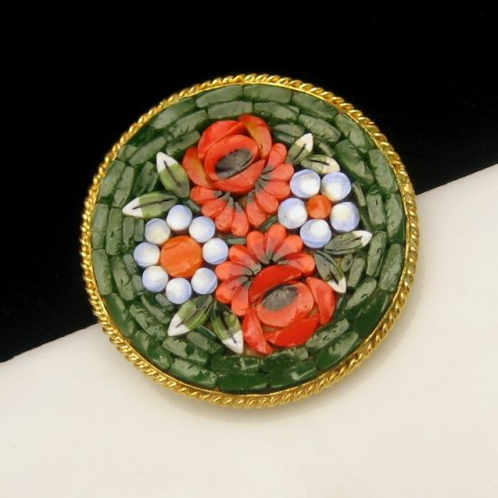 Micro Mosaic Micromosaic Green Red White Flowers Vintage Brooch Pin Nice Detail