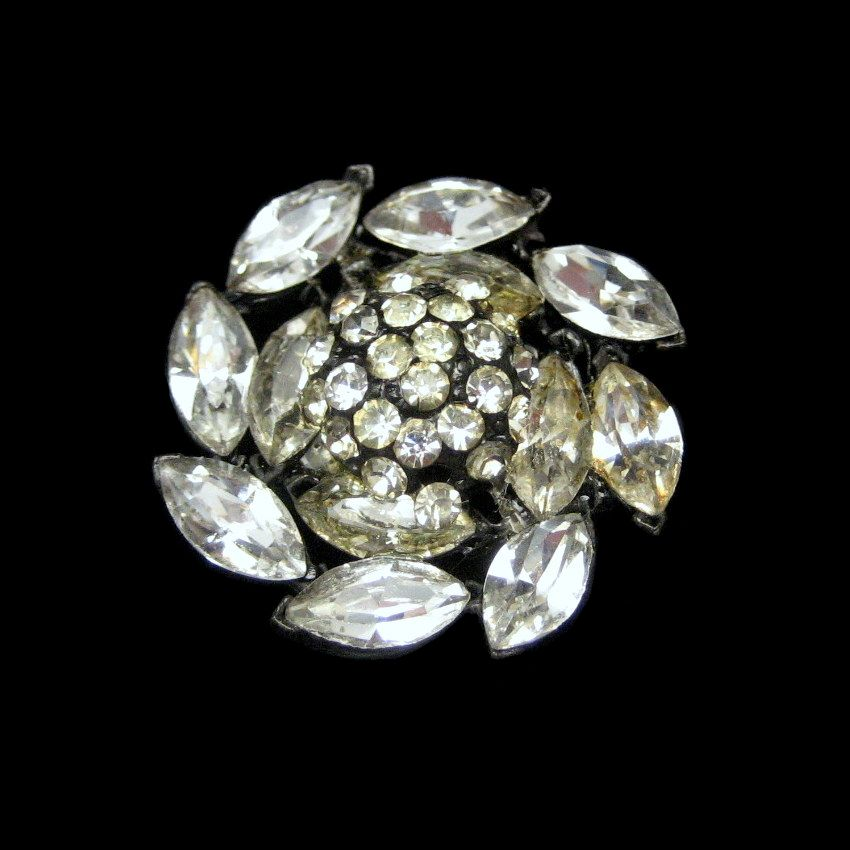vintage japanned metal clear marquise rhinestones circle brooch pin classic ebay. Black Bedroom Furniture Sets. Home Design Ideas