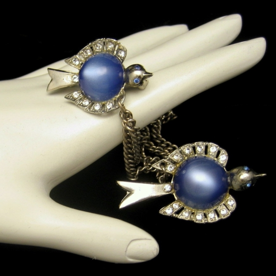 Vintage Blue Jelly Lucite Belly Birds Brooch Pin Rhinestone Silver Plated