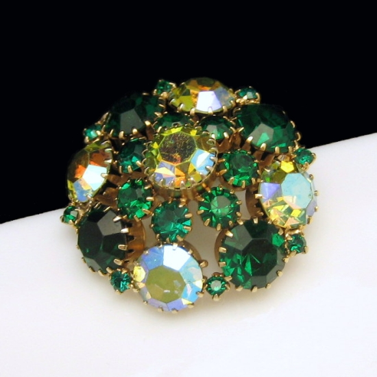 Genuine Signed WEISS Vintage Brooch Pin Green AB Rhinestones Large Flower Tiered