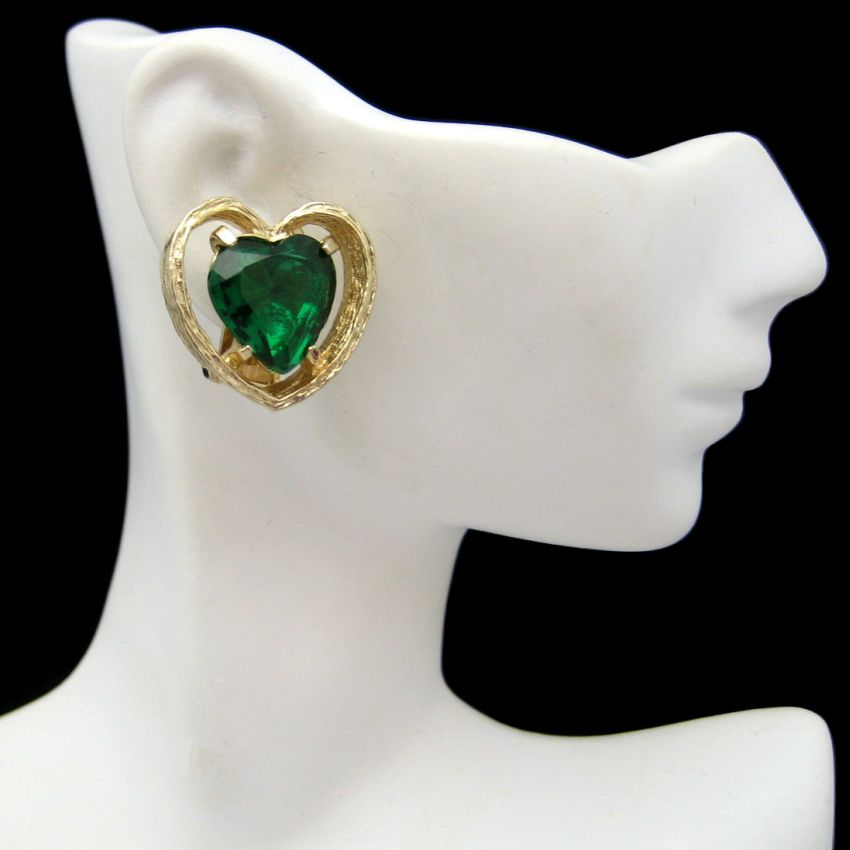 Signed ART Vintage Clip Earrings Large Goldtone Green Glass Hearts