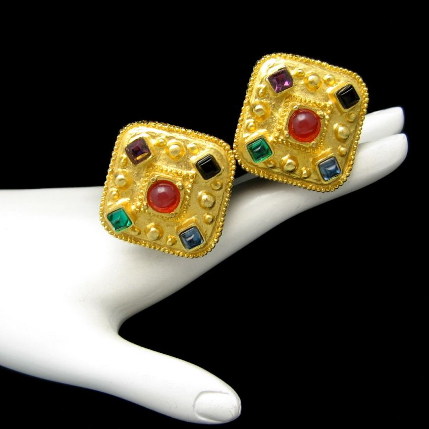 Vintage High Quality Chunky Large Clip Earrings Glass Stones Red Purple Blue