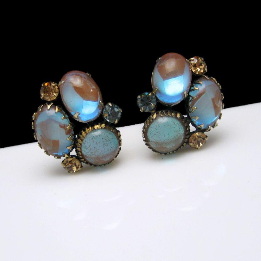 Vintage Rare SAPHIRET Glass Triple Stones Clip Earrings Large Unique Chunky