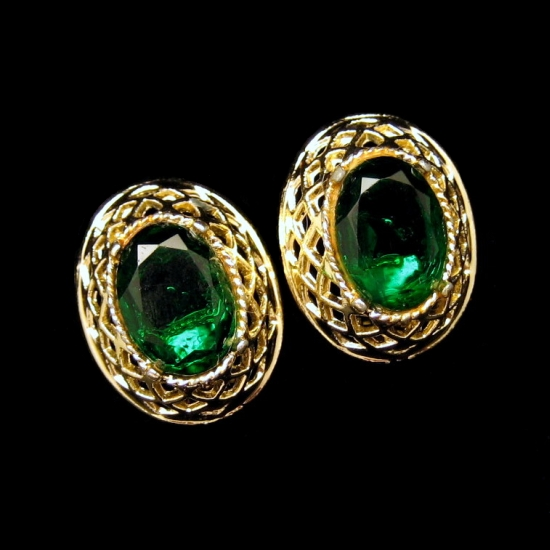 Vintage Large Green Glass Faceted Stones Chunky Filigree Clip Earrings