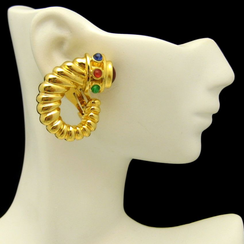 Vintage Ribbed Gold Plated Horn of Plenty Large Clip Earrings Glass Stones