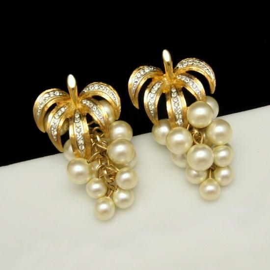 Vintage Grape Clusters Earrings Faux Pearls Rhinestones Gold Plated Bridal NOS