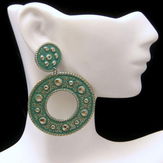 Vintage ELOXAL Aluminum Green Enamel Pierced Earrings Large Dangles NOS