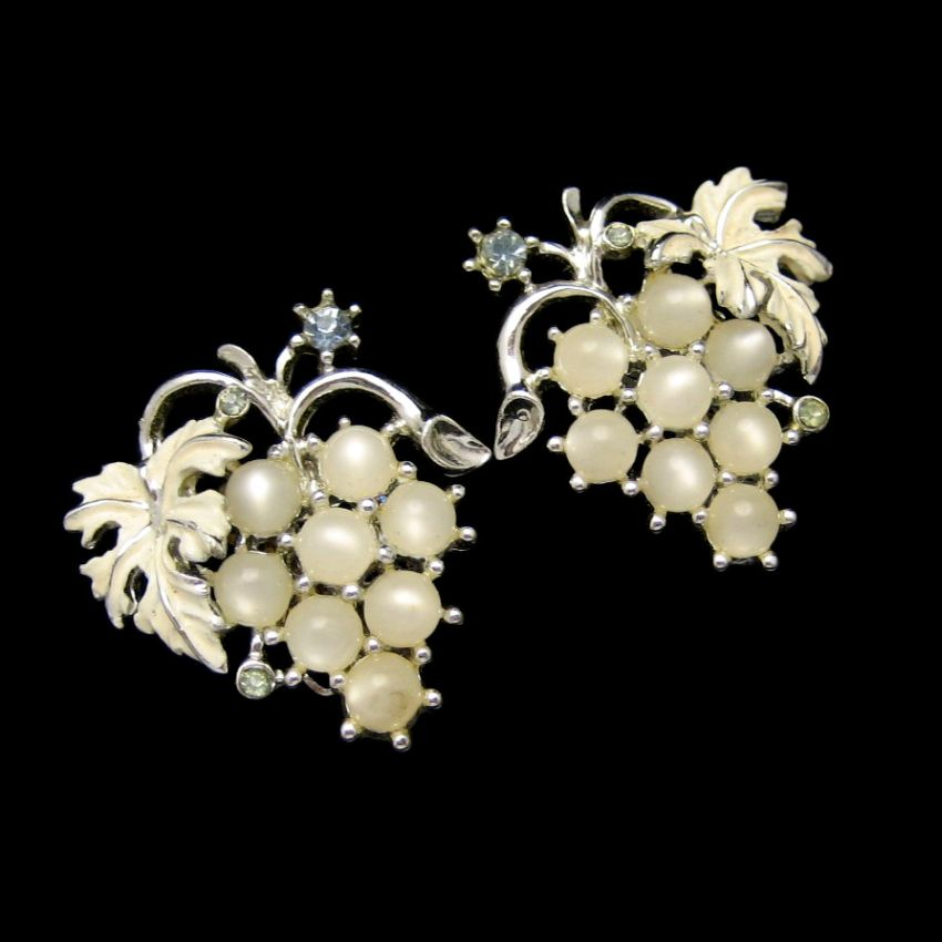 Vintage Grapes Cluster Earrings Satin Glass Faux Moonstone Enamel Rhinestones