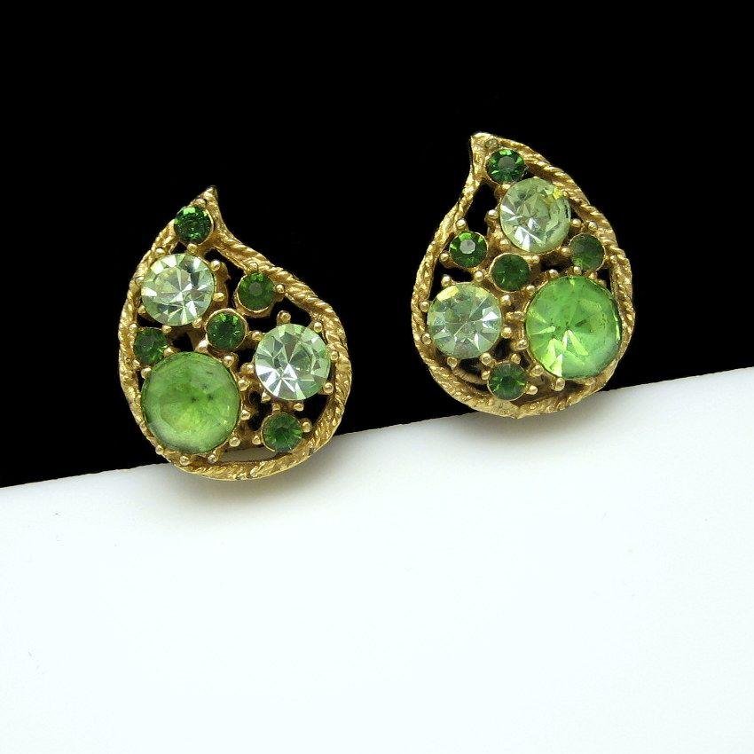 WEISS Vintage Green Rhinestone Teardrop Clip Earrings Goldtone Unique Design