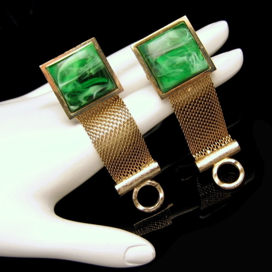 DANTE Vintage Mens Goldtone Mesh Wrap Around Cufflinks Green Swirl Stones