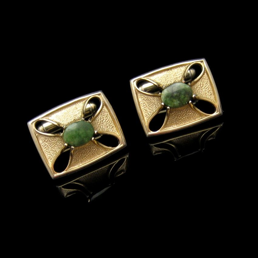 Vintage Mens Cufflinks Jade Stones Goldtone Rectangles Cutouts Design Unique