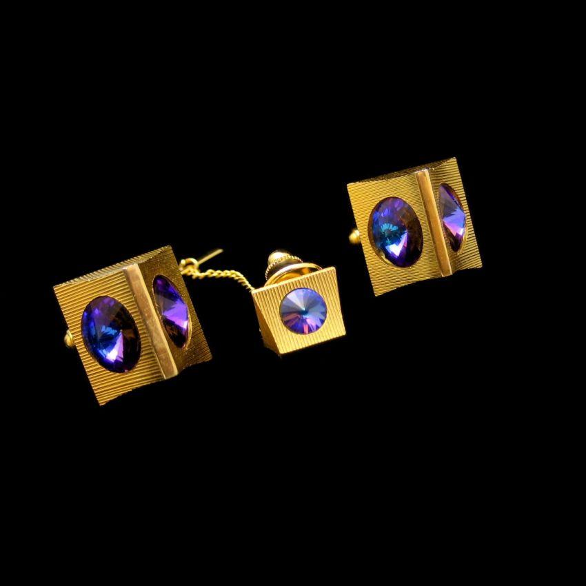 Mid Century Modernist Blue Purple Rivoli Rhinestones Cuff Links Tie Tack Vintage