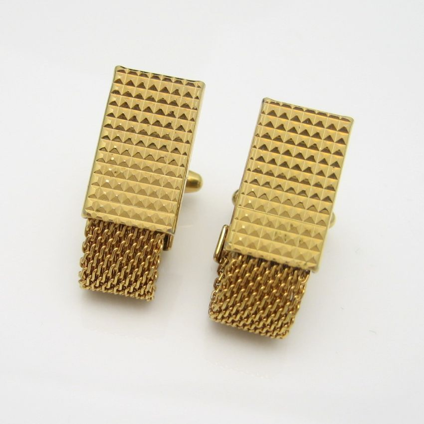 Mid Century Patented Mens Gold Plated Mesh Cufflinks Cuff Links Vintage Faceted