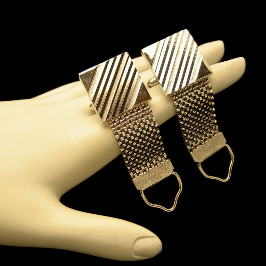 Vintage Mens Silver Plated Mesh Wrap Around Cufflinks Cuff Links Etched Stripes