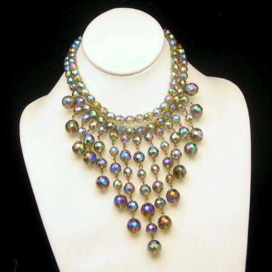 Vintage Massive Fringe Bib Necklace 2 Strands AB Crystal Beads Brilliant Dangles