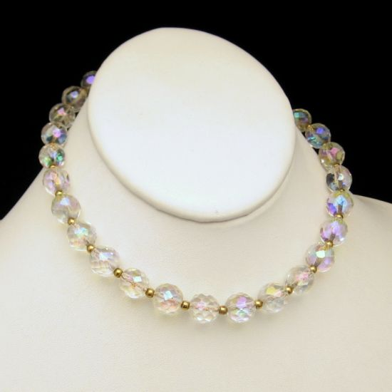 Vintage Extra Large AB Crystal Beads Choker Necklace on Chain Ajusts