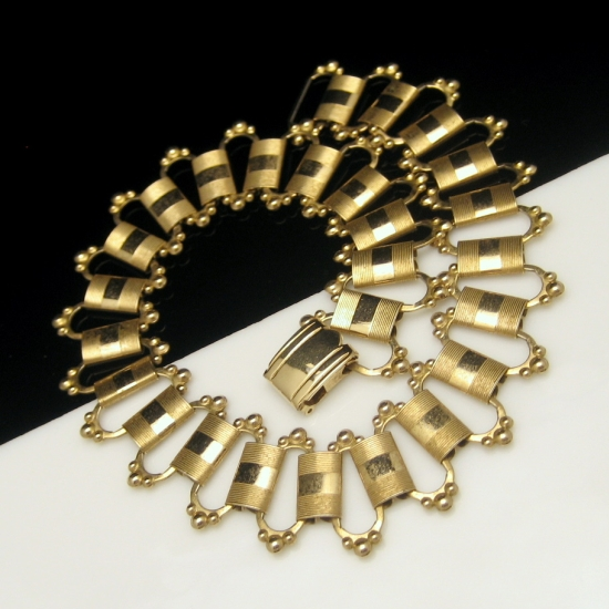 Vintage Chunky Necklace Victorian Revival Large Etched