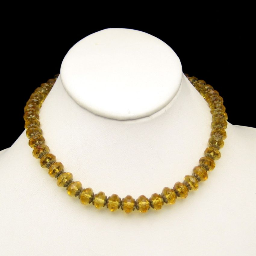 ART DECO Vintage Necklace Large CZECH Crystal Yellow Glass Beads Brass Caps