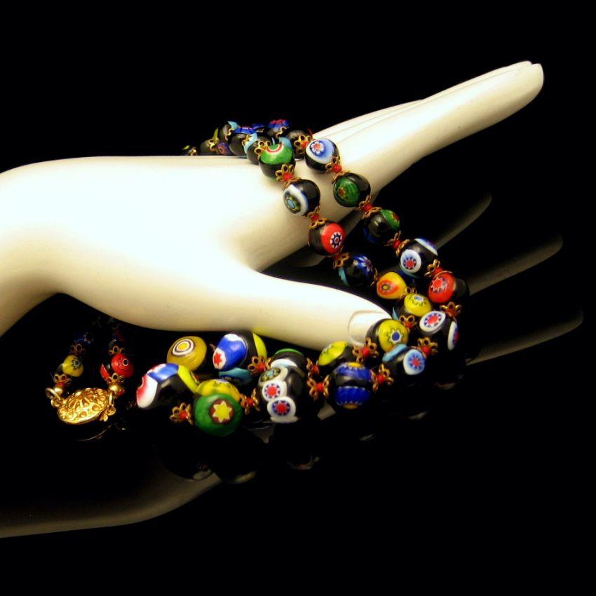 Vintage Venetian Millefiori Necklace Black Multi Art Glass Cane Beads Knotted
