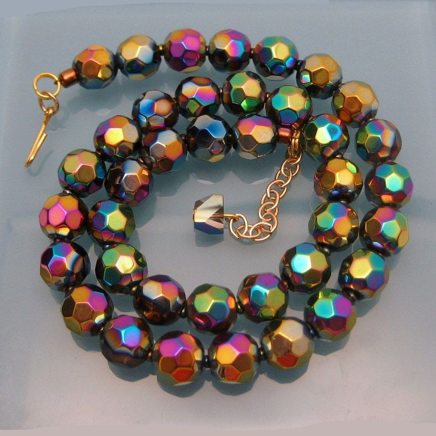 Necklace Beads: Vintage Chunky Faceted Carnival Glass Beads Necklace Gold