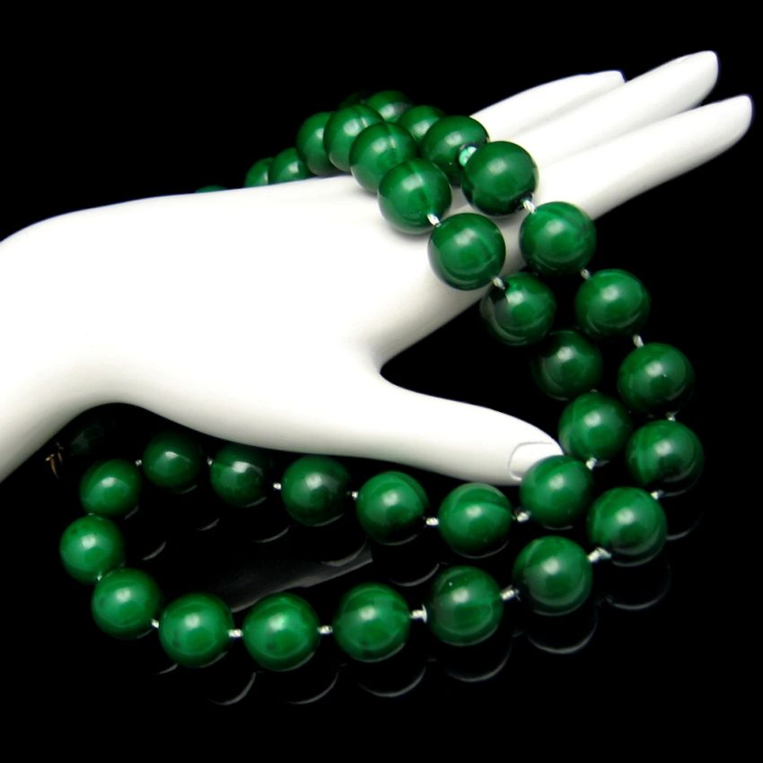 Large 14mm Dark Green Beads Necklace Vintage Chunky 29in Long Pretty
