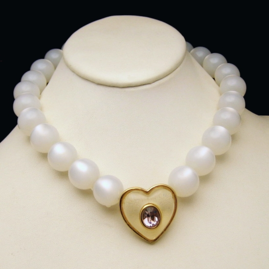 GIVENCHY Vintage Lucite Moonglow Beads Necklace Purple Jelly Belly Heart Strand