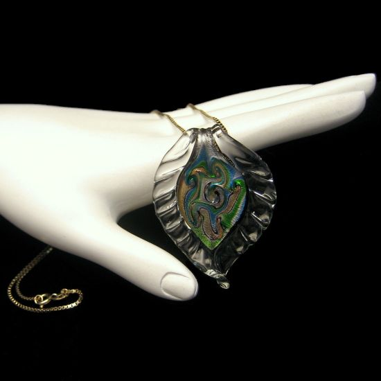 Large Green Leaf Dichroic Glass Pendant Sterling Chain Vintage Necklace