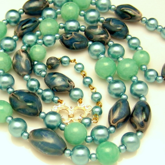 HONG KONG Vintage Beads Necklace 2 Multi Strand Aqua Teal Blue Green