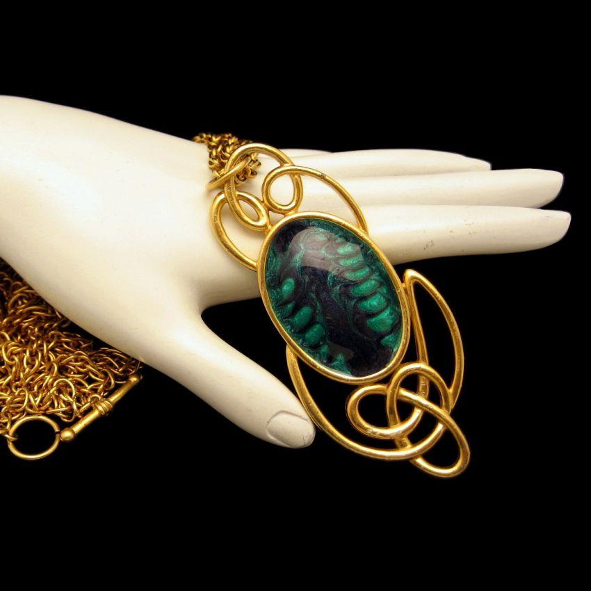 M JENT Vintage Large Chunky Pendant Necklace Green Blue Enamel Swirls Gold Plate