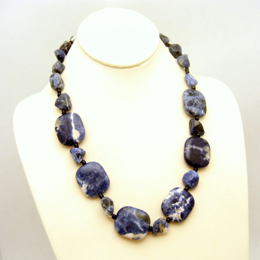 large chunky sodalite necklace striking denim color
