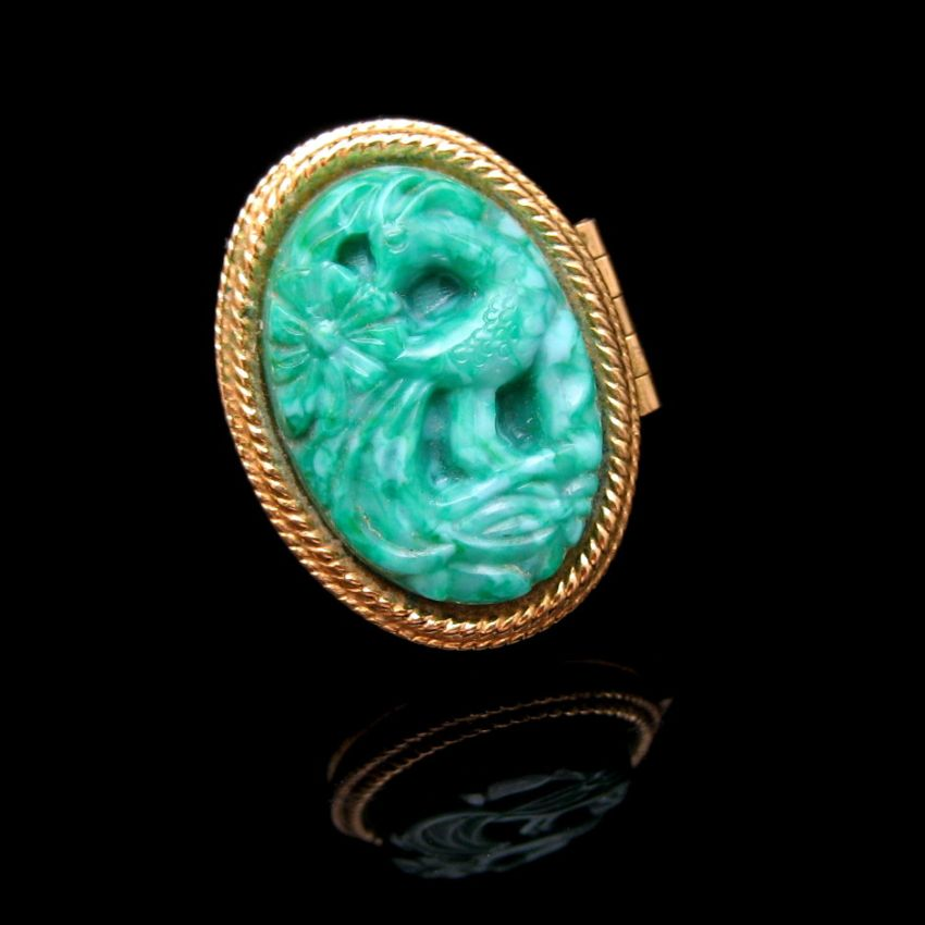 Avon Large Perfume Poison Cocktail Ring Carved Lucite Faux Jade Vintage Ebay