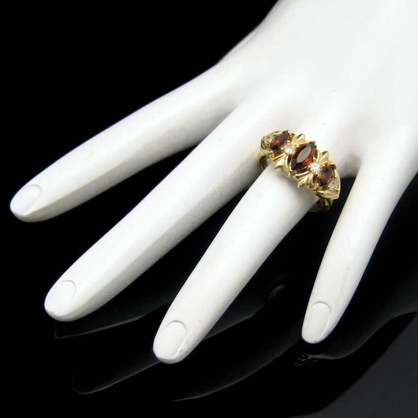 Avon Vintage Cocktail Ring Topaz Glass Rhinestones