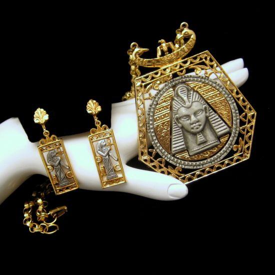 ART Vintage Egyptian Revival Necklace Earrings Set King Tut Isis Ankh Cross