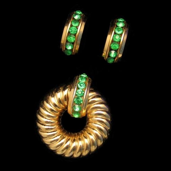 Coro Vintage Brooch Pin Earrings Set Green Channel Rhinestones Retro 1940s