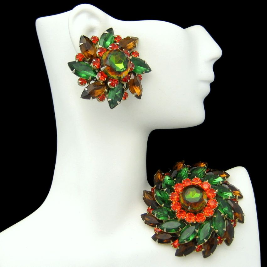 JUDY LEE Vintage Rhinestone?s Brooch Pin Earrings Green Orange Brown Gold Plated