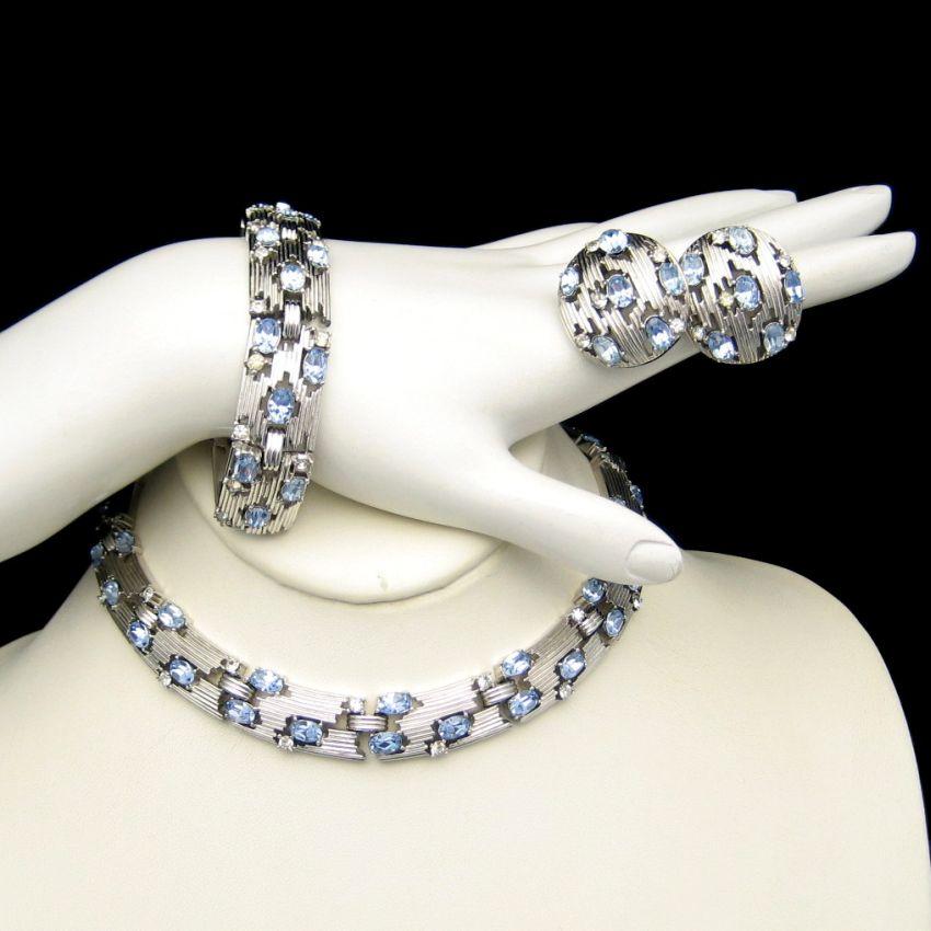 CROWN TRIFARI Vintage Necklace Bracelet Earrings Ice Blue Rhinestones Rhodium