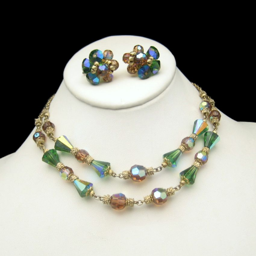 Vendome Vintage Green Topaz AB Crystal 2 Strand Necklace Earrings Set Gold Plate